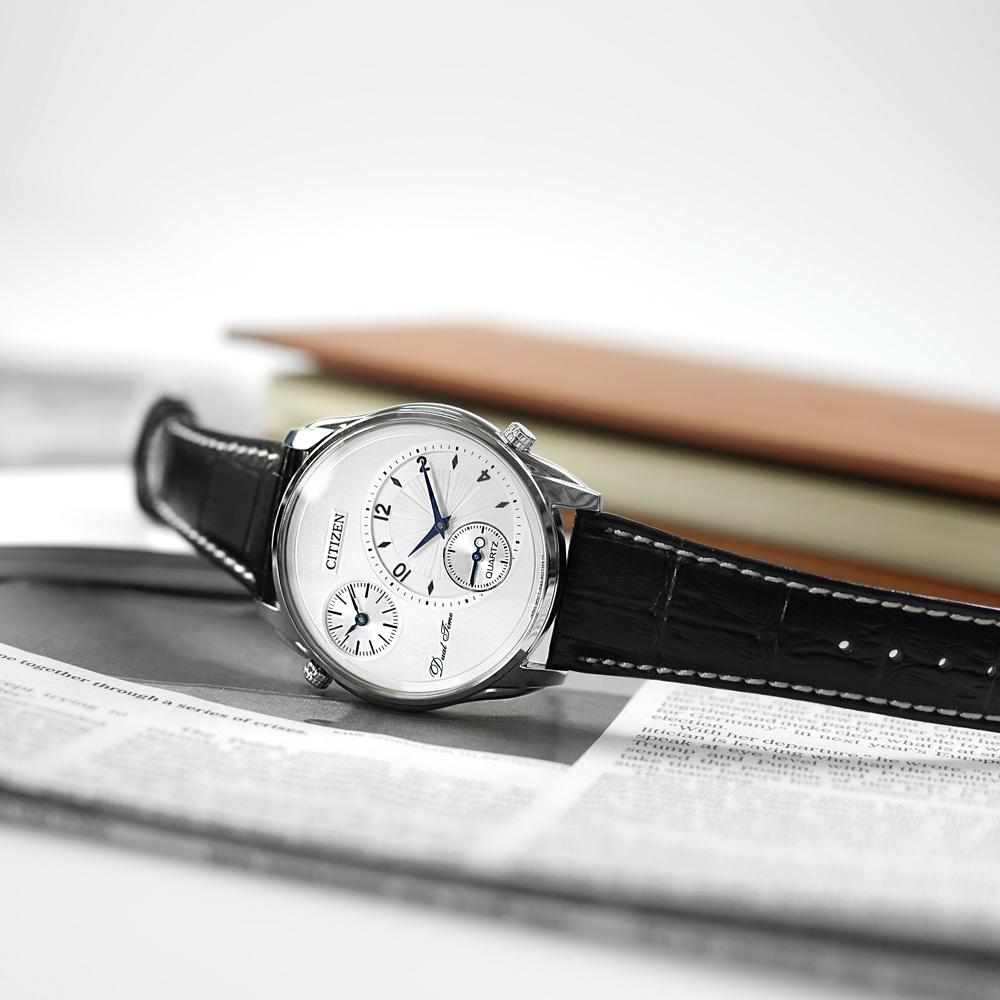 CITIZEN 簡約商務 雙時間顯示小牛皮手錶(AO3030-24A)-銀x黑/44mm
