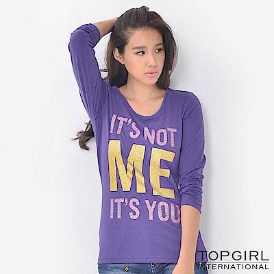 【TOP GIRL】字母造型圓領T - 深紫色
