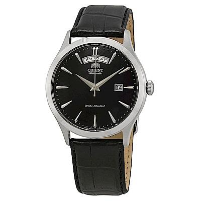 ORIENT東方錶 簡略沉黑自動機械腕錶(FEV0V003BH)-黑x40mm