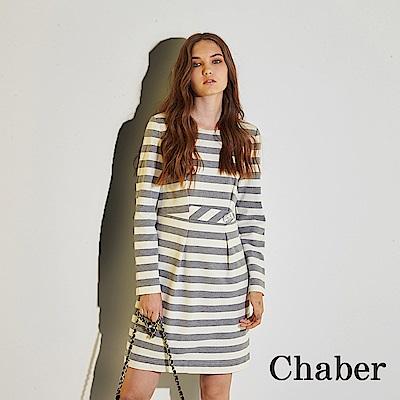Chaber巧帛 無印簡約好感條紋印花領飾造型洋裝-灰