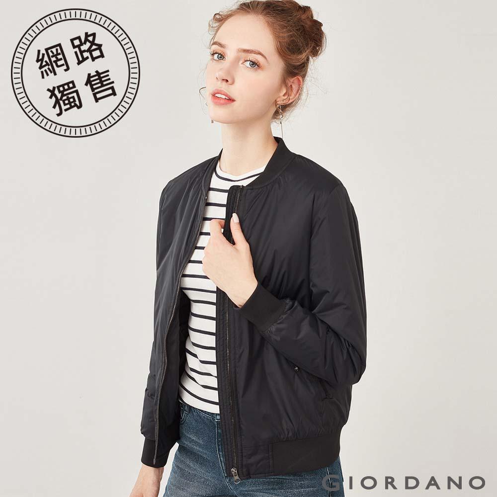 GIORDANO 女裝MA1刺繡鋪棉飛行外套-01 標誌黑