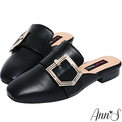 Ann'S個性派女子-不破內裡訂製份量金釦皮革穆勒鞋-黑(版型偏小)