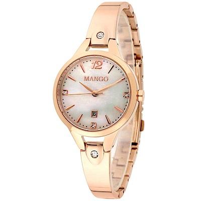 MANGO 絢爛瑰寶DAY BY DAY不鏽鋼腕錶 - 30mm / 白X玫瑰金
