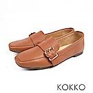 KOKKO-品味梨泰院方頭柔軟彎折樂福鞋-拿鐵棕
