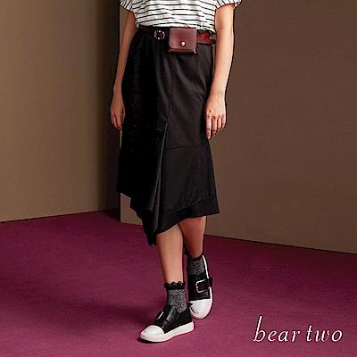 beartwo 個性不對稱獨特V字下擺裙(二色)