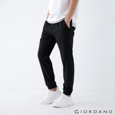 GIORDANO 男裝3M保暖內刷毛束口褲 - 09標誌黑