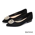 達芙妮DAPHNE 平底鞋-水鑽花飾尖頭絨布低跟平底鞋-黑