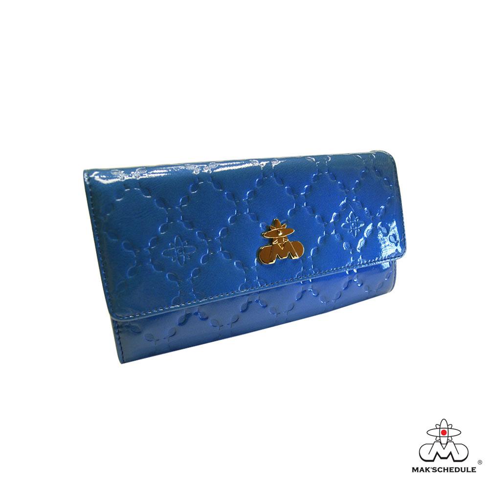 MAK SCHEDULE- 有魚系列2 菱形壓魚紋珍珠牛皮二折壓釦長夾