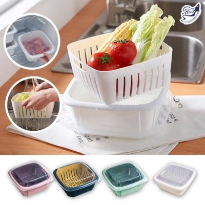 【Effect】帶蓋保鮮-雙層冰箱收納蔬果瀝水架(3入/五色可選)