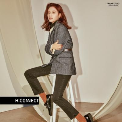 H:CONNECT 韓國品牌 女裝-仿舊微彈合身長褲-黑