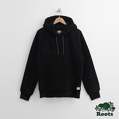 Roots 男裝-雪爾帕連帽上衣-黑