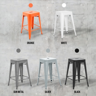 E-home Vali瓦力工業風可堆疊金屬吧檯椅-高61cm 白色