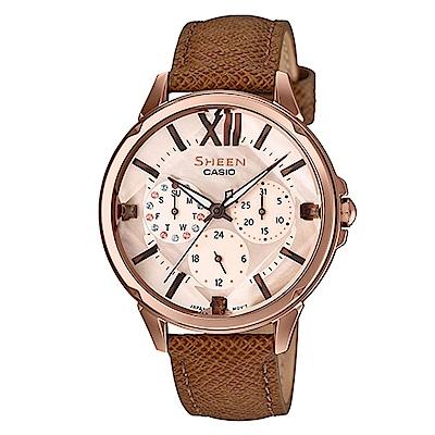 SHEEN羅馬數字優雅棕色系皮帶腕錶(SHE-3056PGL-7)珍珠母貝面38mm