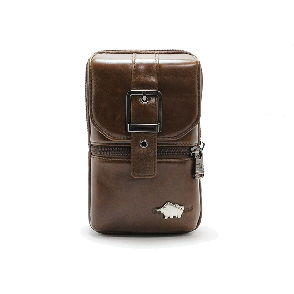 DRAKA 達卡 -匠心獨具系列-斜背腰包/牛皮小方包-設計咖啡