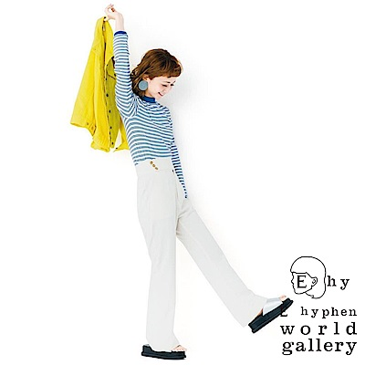 E hyphen 三戶夏芽著用-海洋風橫條紋短版合身長袖上衣-藍色