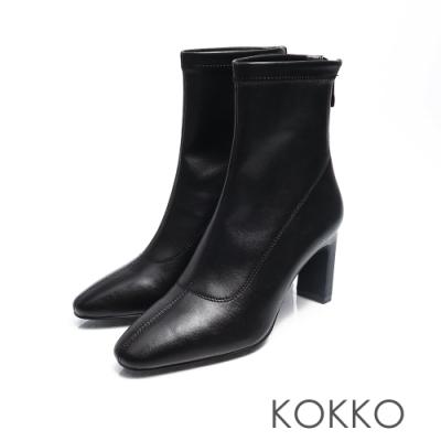 KOKKO - 完美顯瘦方頭扁跟襪靴 -亮黑色