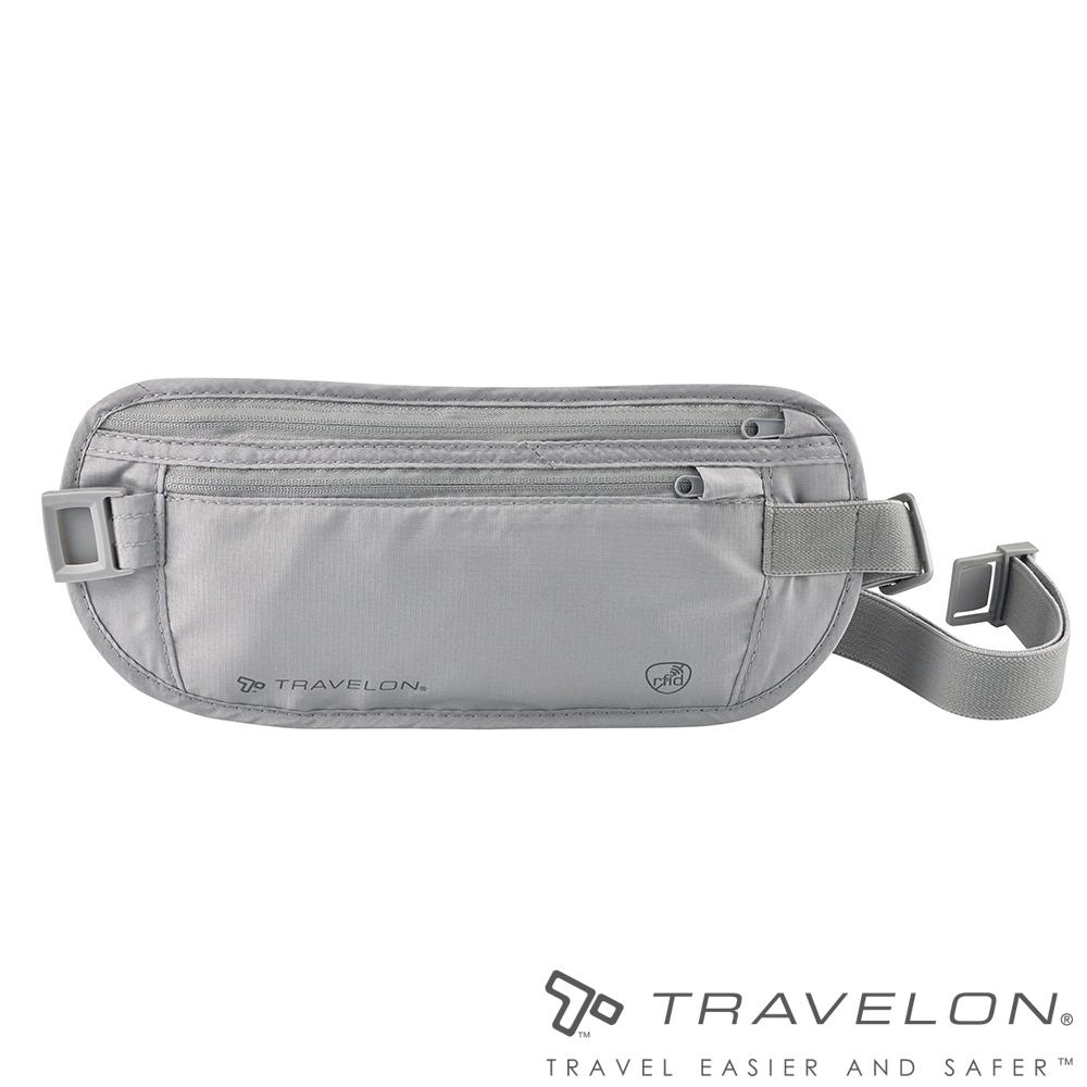【Travelon美國防盜包】 RFID BLOCKING貼身腰包/護照包TL-12997灰/出國旅遊/隱藏式錢包袋