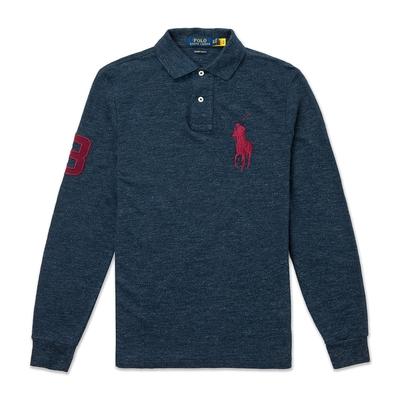 Polo Ralph Lauren 年度熱銷刺繡大馬長袖POLO衫(CUSTOM SLIM FIT)-麻花深藍色