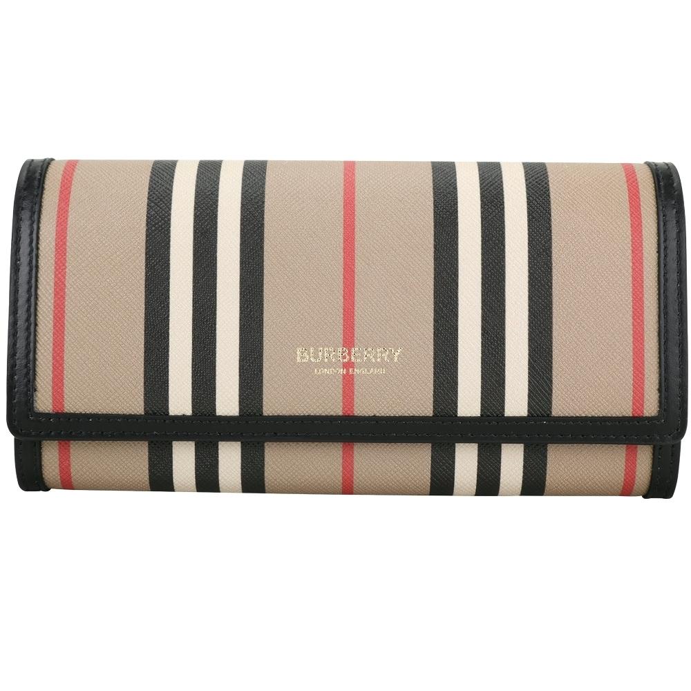 BURBERRY 條紋環保帆布牛皮蓋釦式長夾(典藏米色)