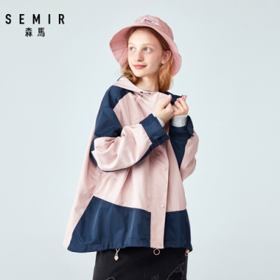 SEMIR森馬-OVERSIZE撞色造型連帽風衣-女