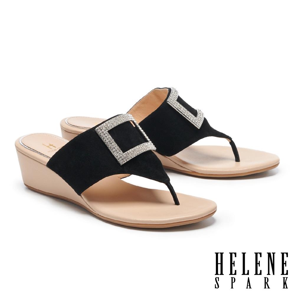 拖鞋 HELENE SPARK 輕奢時髦閃鑽方釦楔型高跟夾腳拖鞋-黑