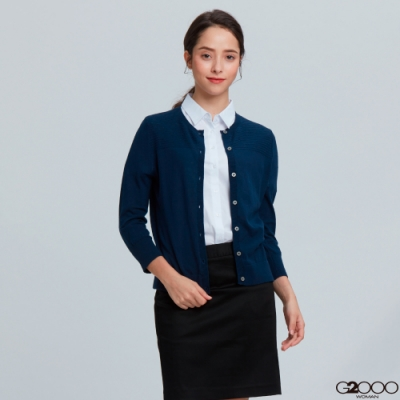 G2000素面七分袖針織外套-藍色