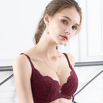 EASY SHOP-專屬依戀 大罩杯B-E罩成套內衣(酒紅色)