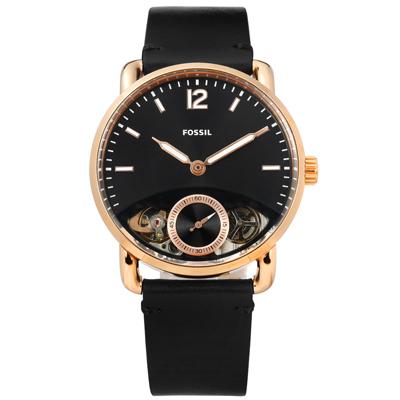 FOSSIL Commuter 機械錶自動上鍊鏤空真皮手錶-黑x玫瑰金框/42mm