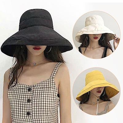 幸福揚邑 超大帽檐防曬抗UV可捲摺桃絨遮陽帽(黃駝、米、黑)