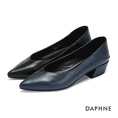 達芙妮DAPHNE 高跟鞋-拼色縫線尖頭高跟鞋-深藍