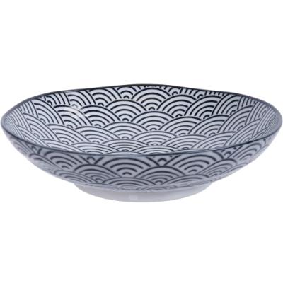《Tokyo Design》瓷製深餐盤(浪紋黑21cm)