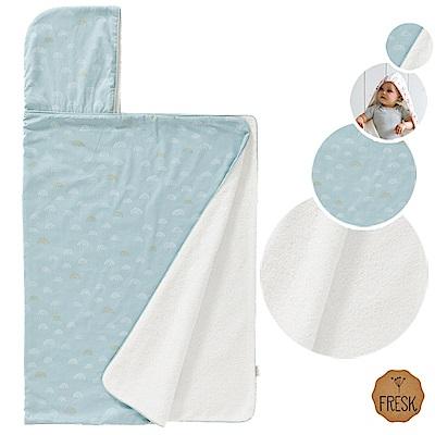 荷蘭 FRESK 有機棉嬰兒浴巾/保暖毯 (小小彩虹 - 淡藍色)