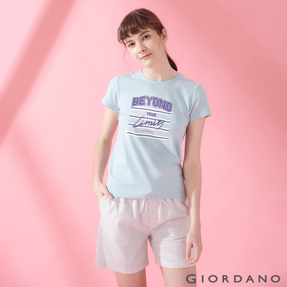 GIORDANO 女裝棉質圓領標語印花T恤- 40 酷藍