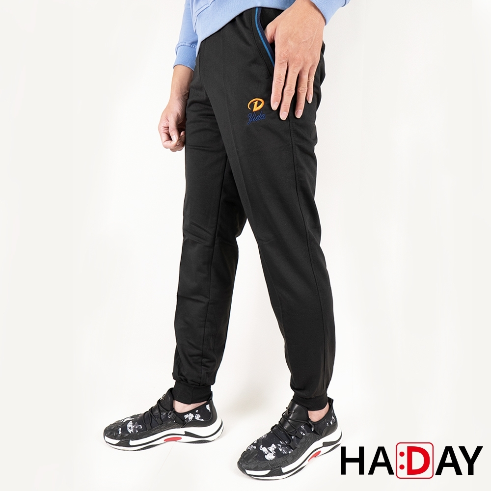 HADAY 男褲長褲 休閒運動棉褲 舒適好穿 簡約刺繡 特色褲頭 黑色