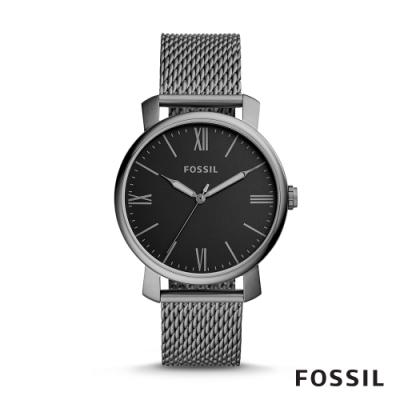 FOSSIL RHETT 優雅造型黑面米蘭帶男錶-銀色 42MM BQ2370