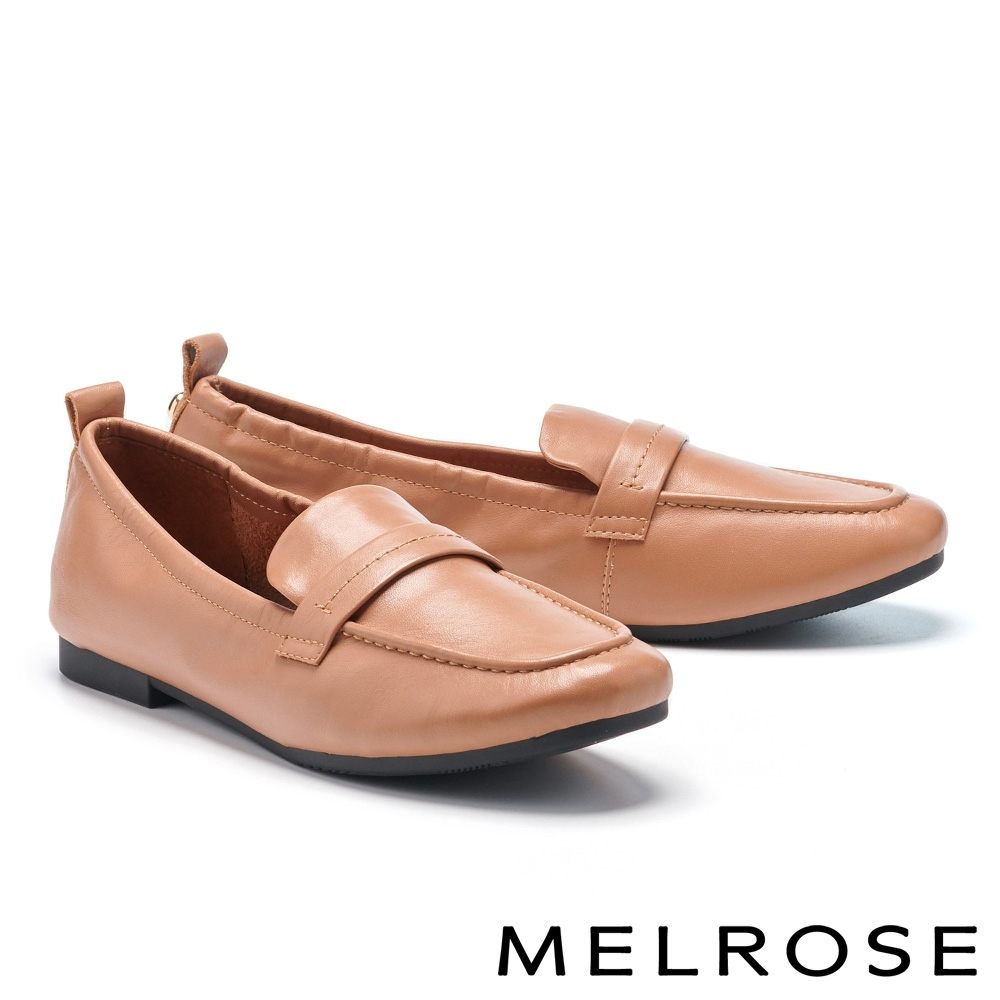 低跟鞋 MELROSE 經典簡約牛皮方頭樂福低跟鞋-棕