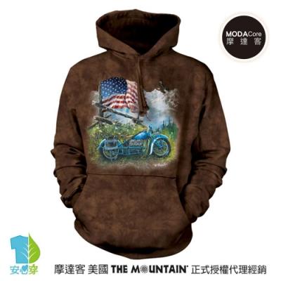 摩達客 美國The Mountain 愛國鷹重機騎士  環保藝術長袖連帽T恤