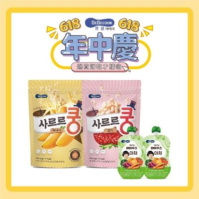 韓國【BEBECOOK】寶膳 幼兒益生菌泡芙*2+嬰幼兒綜合蔬果汁*2 (4入組)