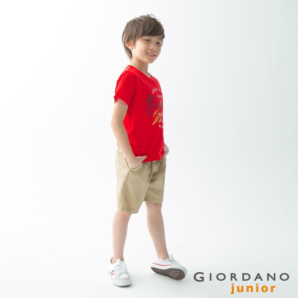 GIORDANO 童裝探索玩樂印花短袖T恤-72 競賽紅