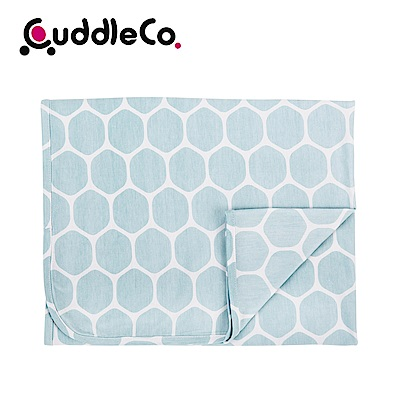 英國CuddleCo 竹纖維寶寶四季毯90x70cm-蔚藍六角
