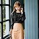 浪漫約會系列~造型荷葉領蕾絲拼接純色上衣-OB大尺碼