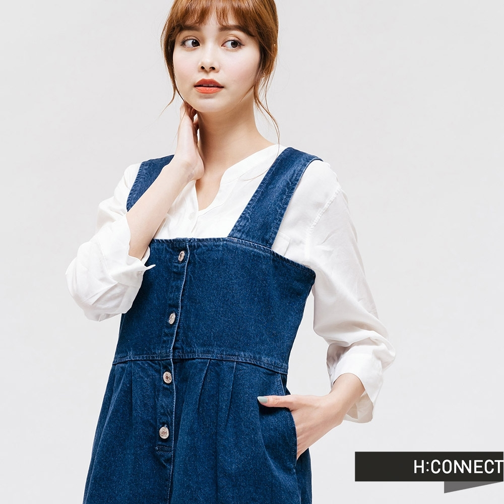 H:CONNECT 韓國品牌 女裝 -排扣打摺牛仔吊帶裙 - 藍