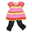 【天使霓裳-童裝】陽光鮮豔條紋 短袖長褲兩件組套裝(粉)