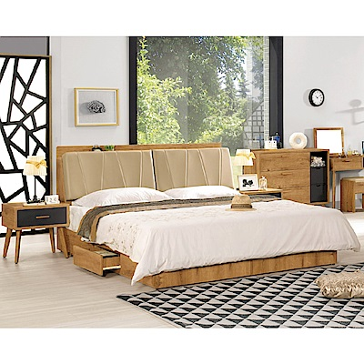 D&T 德泰傢俱 JOJO原切木6尺雙人床-182x211x101.5cm