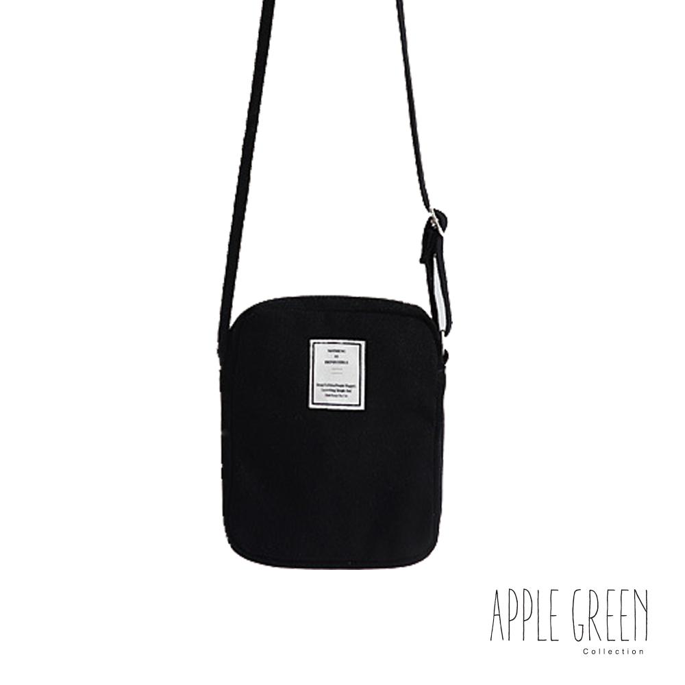 Apple Green 韓系潮流帆布斜背包(黑)