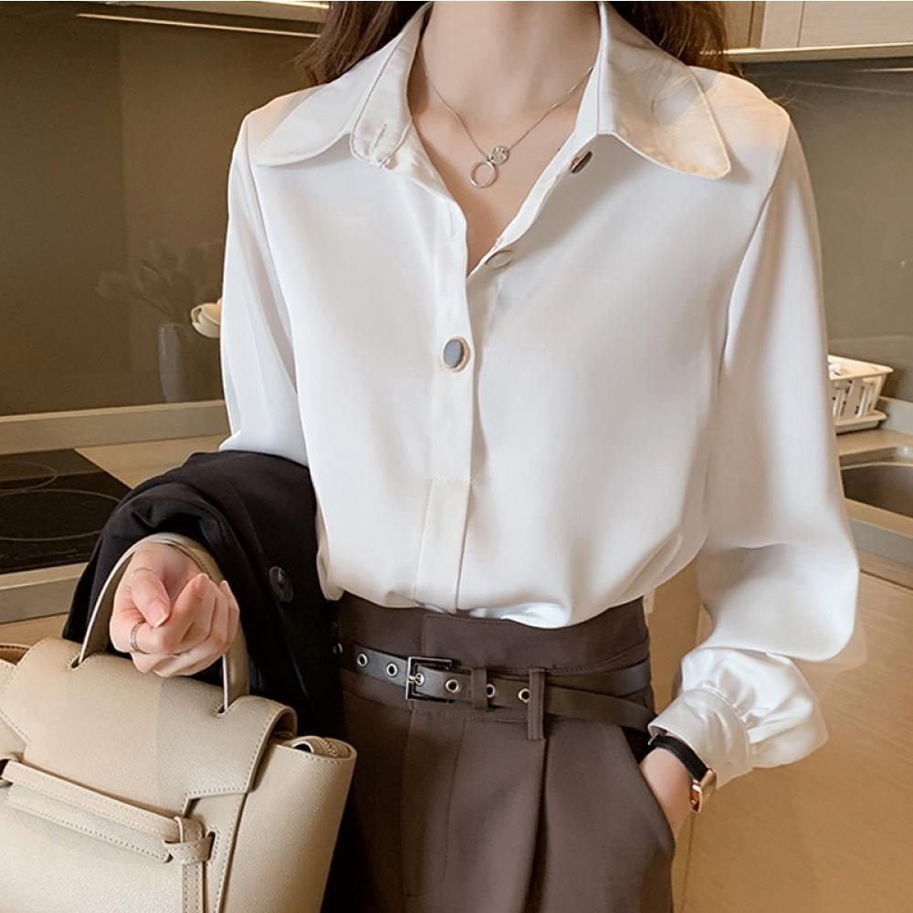 中大尺碼素色半開釦黑色金邊造型鈕釦雪紡襯衫L~4L-Ballet Dolly