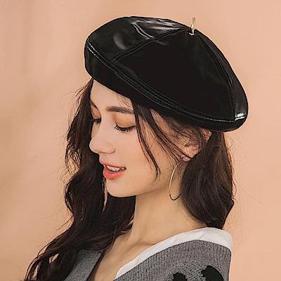 IREAL金環皮革壓線貝雷帽