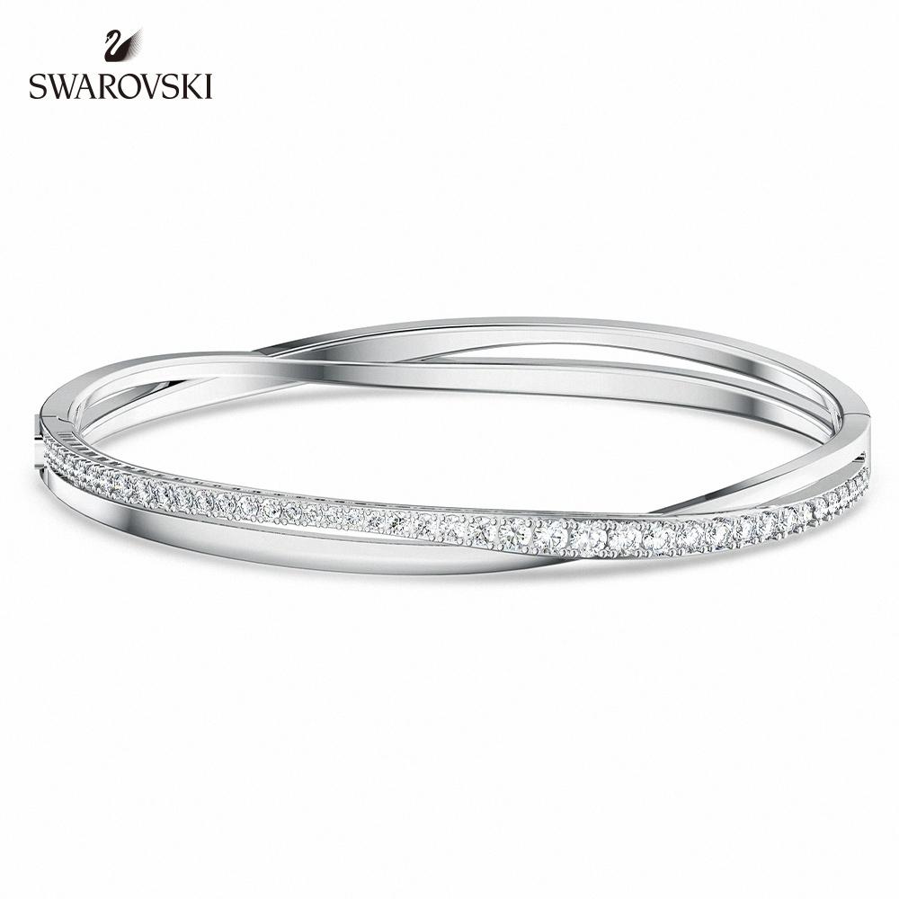 SWAROVSKI 施華洛世奇 Twist Rows 白金色螺旋曲線白色手鏈