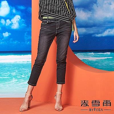【麥雪爾】粉綠腰身黑色刷白牛仔棉褲