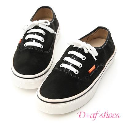 D+AF 自在秋氛.舒適絨料綁帶休閒鞋*黑
